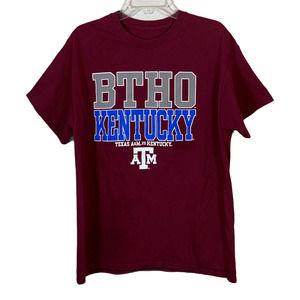 TEXAS A&M Aggies BTHO Kentucky Tee T Shirt Maroon Size L Football